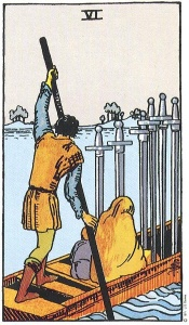 Tarot: Six of swords- depicts a lighter scene.