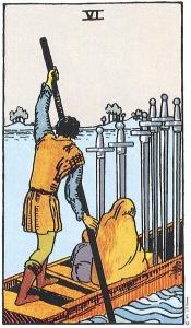 Tarot: Six of swords- depicts a lighter scene.