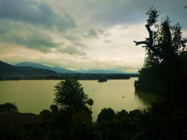 Pokhara lake views from landslides and torrential rain.