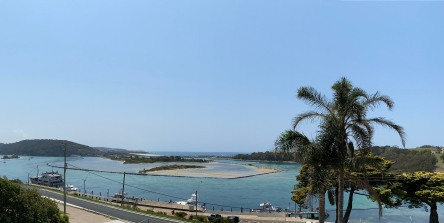 The million-dollar view from the balcony of O'Briens Hotel, Narooma.